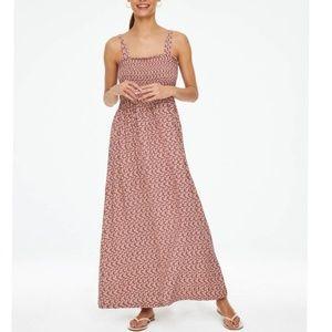 LOFT Pink Floral Smocked Maxi Dress M